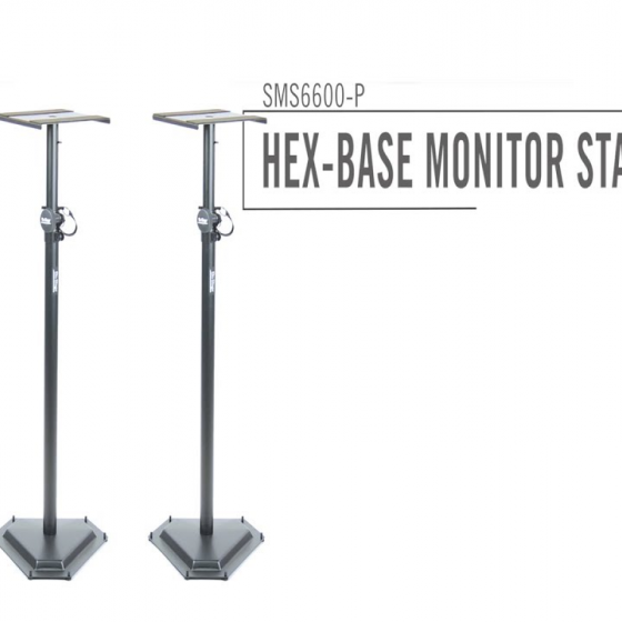 On-Stage Stands SMS6600P Hex-Base Monitor Stand - Pair -H 36.5 - 54 in / W cap 90lbs