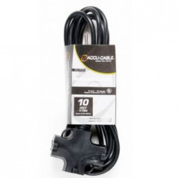ADJ Ec163 3fer10 10 Foot 16/3 Black AC Cable with Triple Tap