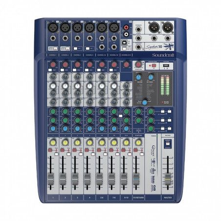 Soundcraft SIGNATURE-10-US 10 ch. Compact Analogue Mixer with 2-in/2-out USB interface, dbx® Limiters on inputs and Lexicon® Eff
